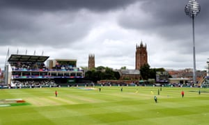 Dark clouds gather over the pitch during Australia's victory over Pakistan.