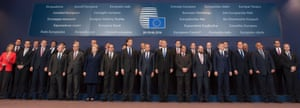 EU leaders with David Cameron.