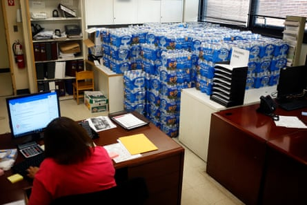 Water is stacked in several rooms scattered around the Newark Health Department.