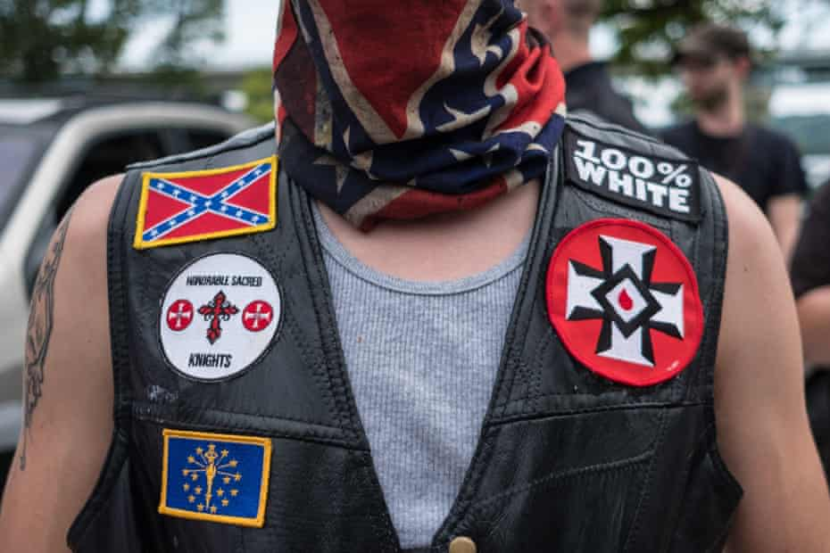 White supremacist racist organization Ku Klux Klan (KKK) members are seen during a rally in Madison, Indiana, United States on August 31, 2019.