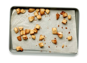 Toasted bread pieces for caesar salad
