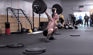 Russel Berger weightlifting at a CrossFit gym