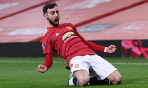 Manchester United's Bruno Fernandes celebrates scoring.