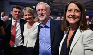 Corbyn on the day he was announced as new Labour leader in September 2015, with fellow candidates Andy Burnham, Yvette Cooper and Liz Kendall.