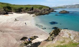 The beach where the passenger ferry lands on the east coast of Handa Island, Sutherland.