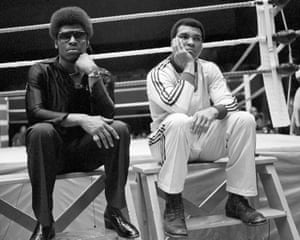 Heavyweight champion Leon Spinks (left) and opponent Muhammad Ali in New Orleans as they get together for a network television interview.