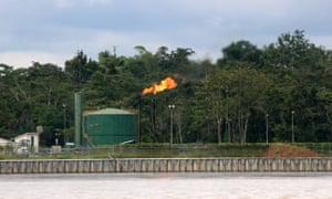 Oil installation along the Napo river, Ecuador.