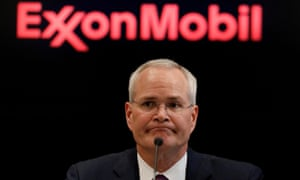 Darren Woods, CEO of Exxon Mobil in March. He has blamed losses on Covid-19 lockdowns cutting demand for oil resulting in oversupply.