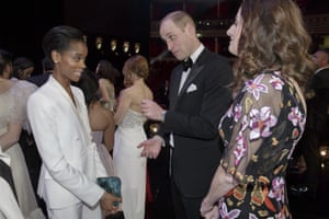 Britain's Prince William meets Letitia Wright after the award show a the Albert Hall