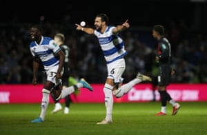 Queens Park Rangers' Jimmy Dunne celebrates after scoring the winning penalty.