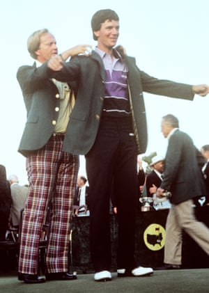 Larry Mize looks as pleased as punch as he receives his green jacket from Jack Nicklaus during the Presentation Ceremony after the 1987 Masters.