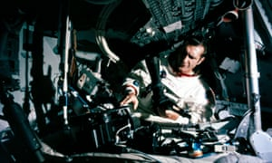 Richard Gordon in lunar orbit inside the Apollo 12 Command Module, 1969.