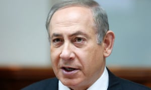 Benjamin Netanyahu attends the weekly cabinet meeting at his office in Jerusalem