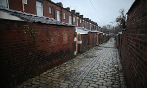 A general view down a classic northern back alley in Oldham