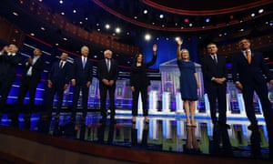 Democratic presidential candidates on the second night of the Democratic primary debate hosted by NBC News in Miami, 27 June 2019.