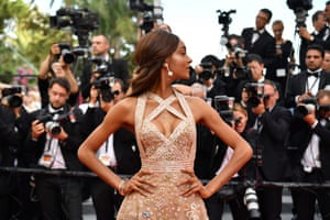British model Jourdan Dunn poses as she arrives for the screening of the film 'The Killing of a Sacred Deer'