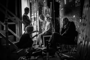Cast of 'Hay Fever' between scenes backstage at the Duke of Yorks Theatre
