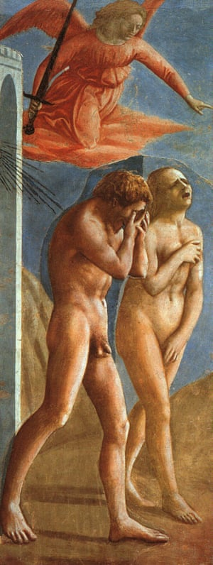 masaccio the expulsion from the garden of eden adam eve and an angel