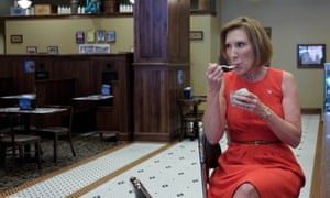 Carly Fiorina enjoys some ice cream as she campaigns at the Blue Bunny Ice Cream Parlor in Le Mars, Iowa