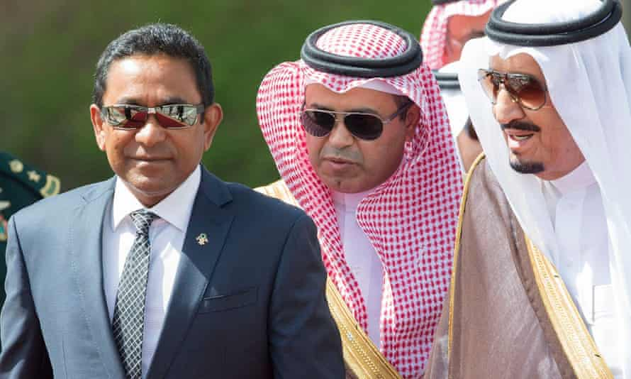 The Maldives president, Abdulla Yameen (left), during a visit to Saudi Arabia earlier this month