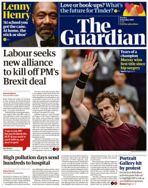 Guardian front page 21 Oct 2019