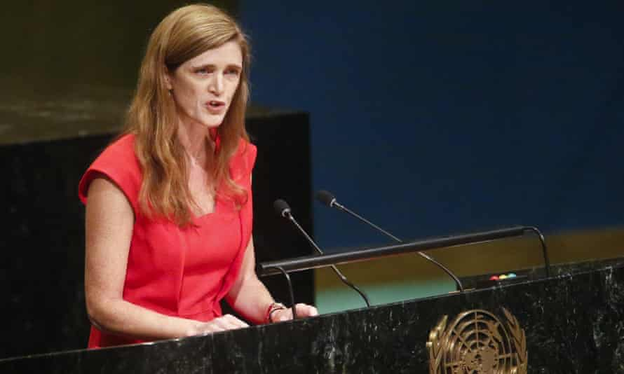 Samantha Power speaks at the UN general assembly in 2016.