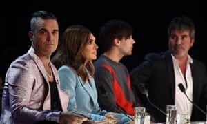 X Factor judgets Robbie Williams, Ayda Williams, Louis Tomlinson and Simon Cowell.