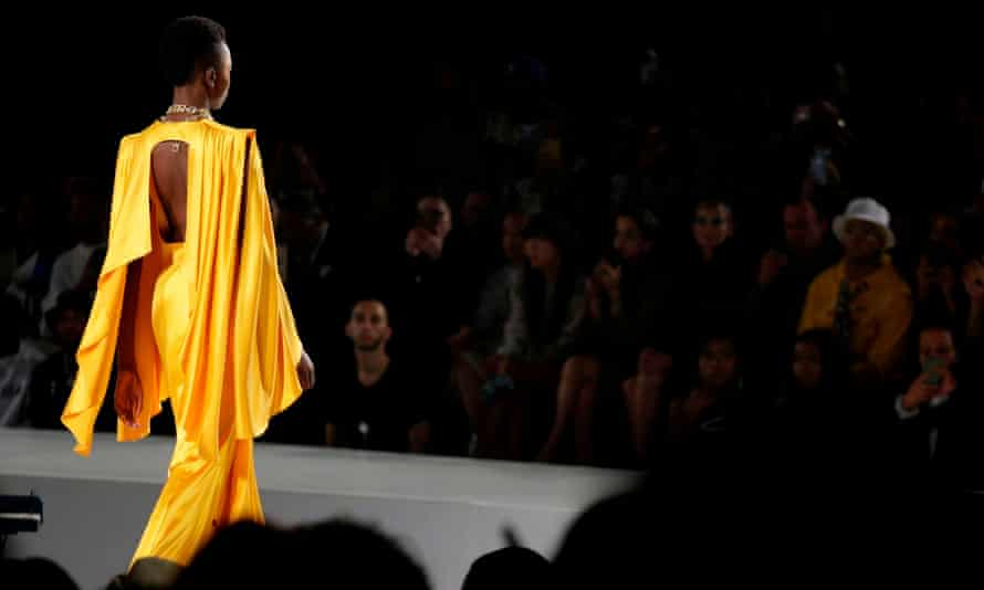 A model walks the runway at the Pyer Moss show at the Kings Theatre during the New York Fashion Week in Brooklyn on 8 September 2019.