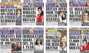 A crop of the Daily Express's 179 anti-immigration splashes.