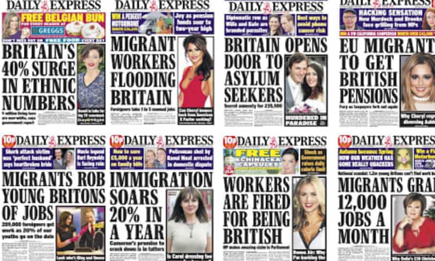 A selection of Daily Express front pages from the era before Jones took over as editor