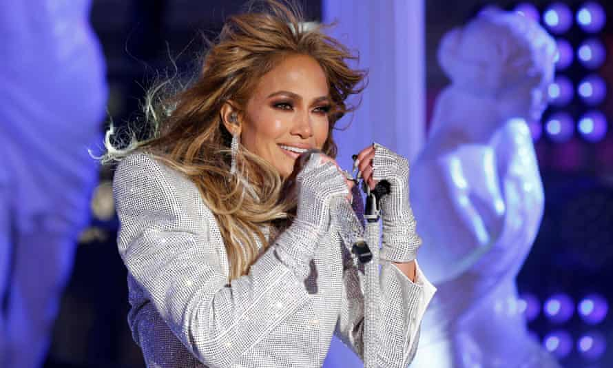 Jennifer Lopez performs in Times Square in New York City on 31 December 2020.