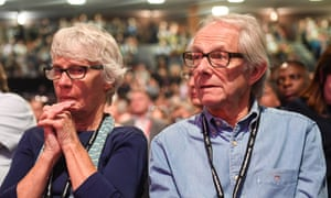 Ken Loach listening to speeches during the second day of the Labour conference.