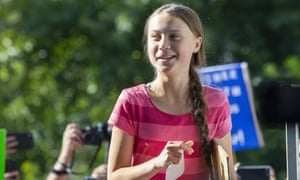 Greta Thunberg during the 20 September climate strike in New York.