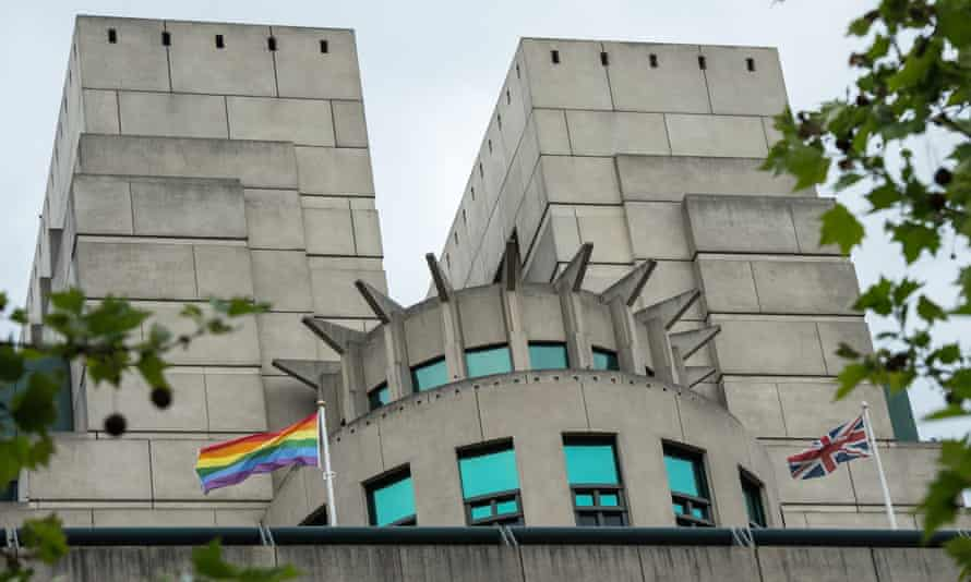A rainbow flag outside the MI6 building