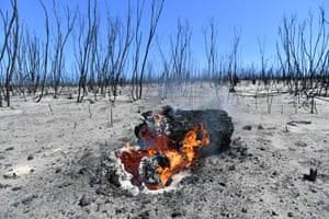 The ground continues to burn amongst the charred remains of Flinders Chase national park