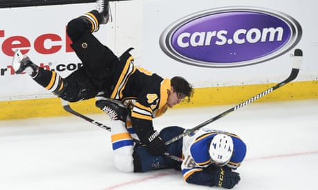 Helmetless Krug's huge hit rouses Bruins to Stanley Cup win over Blues