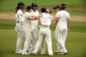 Kirstie Gordon of England celebrates after taking the wicket of Meg Lanning of Australia for 21.