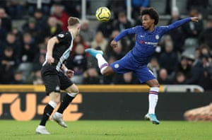 Chelsea's Willian in action with Newcastle United's Emil Krafth.