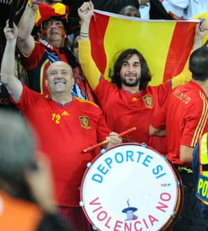 Supporters celebrate at the end of the World Cup semifinal match between Germany and Spain in 2010.