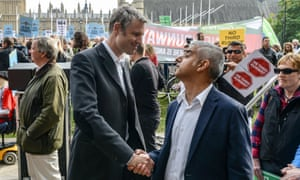 Zac Goldsmith and Sadiq Khan make friends in Parliament Square.
