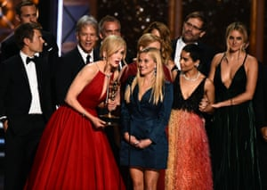 The cast and crew of Big Little Lies, including Nicole Kidman, Reese Witherspoon, Zoë Kravitz and Shailene Woodley. Big Little Lies won multiple awards including outstanding limited series.