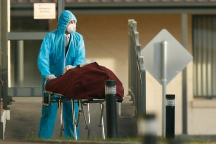 A body is removed from an aged care home in Melbourne