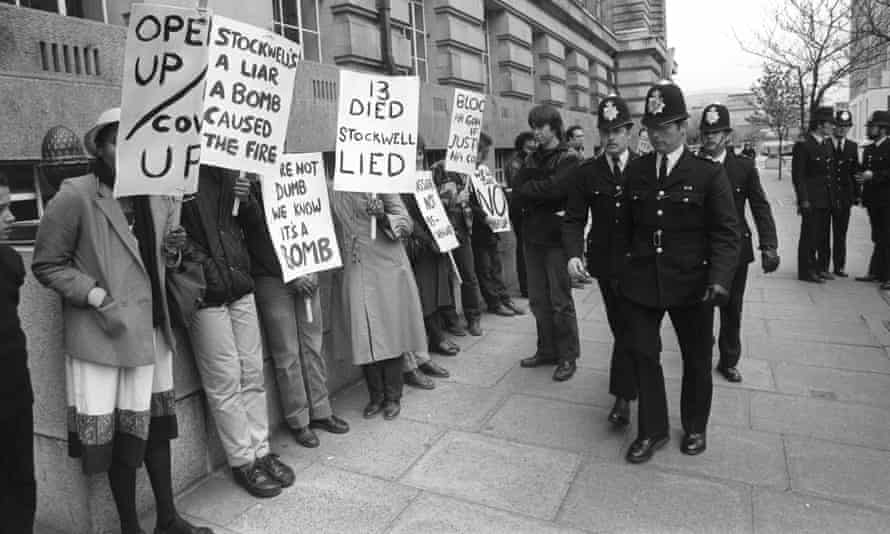 New Cross Massacre Action Committee demonstrators outside County Hall, London, where an inquest into the deaths of 13 young people in a New Cross house fire was due to begin