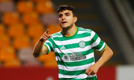 Mohamed Elyounoussi celebrates scoring Celtic's late winner after a stuttering performance against Riga.