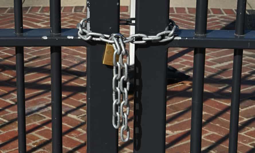 A gate locked, 3 April 2020 in Melbourne, Australia