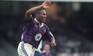 Les Ferdinand scores Newcastle's third goal in their 3-1 win over Bolton in August 1995.