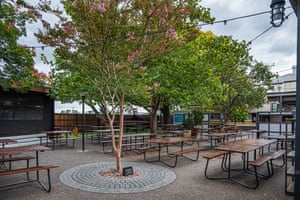 The empty beer garden of Notting Hill Pub in Melbourne. From midday Monday, venues such as bars, clubs, nightclubs, cinemas, gyms and restaurants, along with anywhere people remain static would be closed.