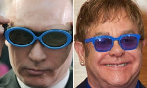 Vladimir Putin (left) and Elton John.