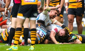 Henry Slade and Sam Simmonds celebrate Don Armand's late try.