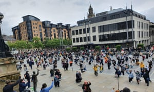 The organisers of protests, including this physically distanced gathering in Belfast, now face prosecution.